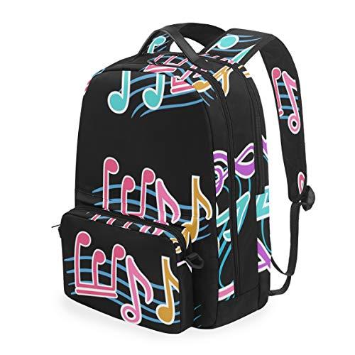 Colorida Canción De Música Mochilas Escolar Impermeable Mochila Escolares Bolso con Mensajero para Estudiante Niñas Niños