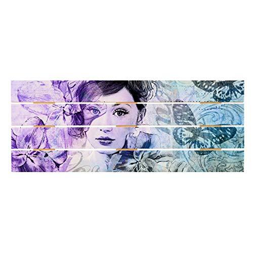 Bilderwelten Cuadro de Madera - Shabby Chic Collage - Portrait with Butterflies 48x120cm