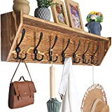 WEBI Wall Shelf with Hooks Underneath,35'' Long Coat Rack Wall Mount with Shelf,7 Triple Hooks,Wall Mounted Coat Rack with Shelf,Key Hooks for Wall,Entryway Shelves for Wall,Rustic Brown