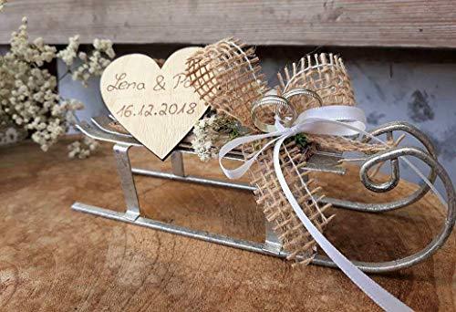 Hochzeit Ringkissen Ringhalter Metall Schlitten silberfarben mit Namen