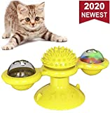WELLXUNK Windmill Cat Toy, Juguetes para Gatos, Cepillo de Pelo para Gatos rascadores y cosquillas, Juguete Interactivo de burlas giratorias para Gatos, Juguete rascador de cosquillas para Gatos