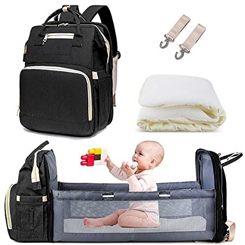 AmWile 3 en 1 sac à dos de sac à langer, sac à langer de voyage imperméable de grande capacité, table à langer pliable multifonctionnelle pour lit de bébé (noir)