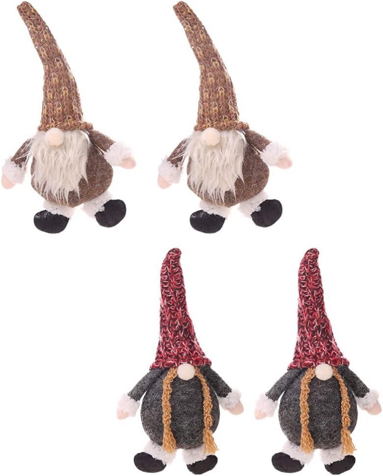 Toyvian Christmas Faceless Santa Plush Gnome 4Pcs Ornament Doll Super beauty product restock New Orleans Mall quality top