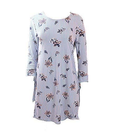 vivance Collection Kleid modernes Damen Maschenkeid mit Allover-Blumenprint Freizeit-Kleid Ausgeh-Kleid Blau/Weiß, Größe:34