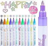 Penne a Doppia Linea, 12 Colori Penne di Contorno a Doppia Linea, Pennarelli Glitter per Pittura, Auguri di Compleanno, Scarabocchiare, Progetti Artigianali d'Arte Fai da Te