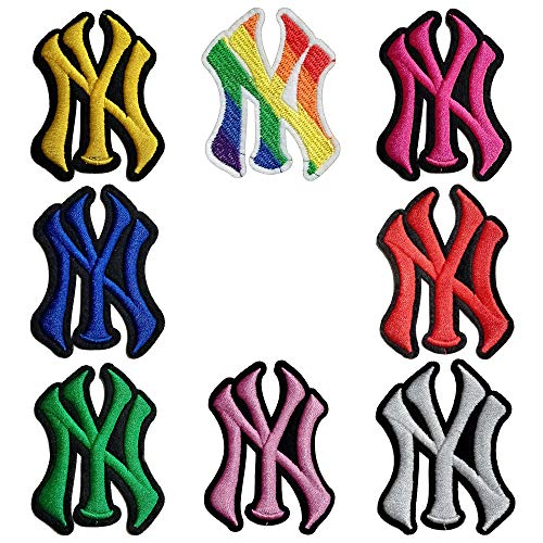 5 Random NY New York Yankees Baseball Team Logo Iron On Sew On Embroidered Patch for Jackets Backpacks Jeans and Clothes Badge Applique Emblem Sign Sport Badge Decal( Size:2.2