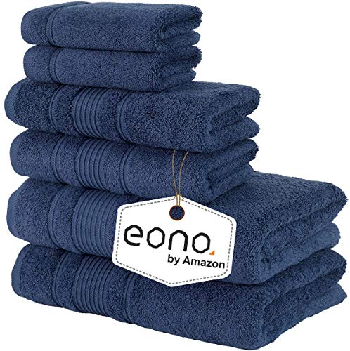 Eono by Amazon, Toallas de SPA y Hotel Juego de Toallas de 6 Piezas, 2 Toallas de baño, 2 Toallas de Mano y 2 toallitas(Azul Marino)