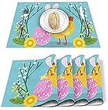 Tovagliette Set di 4 Happy Easter Uova di gallina Divertenti Tovagliette in poliestere resistenti alle macchie Tovagliette lavabili Decorazione per casa, cucina, ufficio Cartone animato