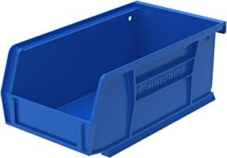 Akro-Mils 30220 AkroBins Plastic Storage Bin Hanging Stacking Containers, (7-Inch x 4-Inch x 3-Inch), Blue, (24-Pack)