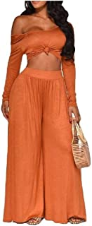 RkYAO Women Shoulder Off Two Pieces Sets Long Sleeve Palazzo Pants
