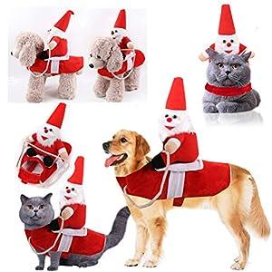Faviye Santa Claus Costume pour Chien Drôle Père Noël équitation équipement de Chat, Chien, Animal de Compagnie