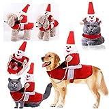Pandao Disfraz de Navidad Mascota, Disfraz de Navidad para Perro, Ropa de Navidad, Divertido Papá Noel, Equipo de equitación, Vestido de Juego de rol, Disfraz Cosplay