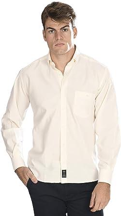 Camisa Oxford Manga Larga de Hombre en Color Crema: Amazon.es ...