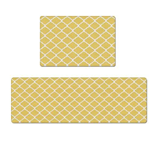 "Kitchen Rugs Set Anti-Fatigue Floor Mat Doormats 2 Piece Waterproof Non-Slip Kitchen Mats and Rugs PVC Standing Mats Floor Runner Carpet, Modern Moroccan Geometric Patterned Yellow 18""x30""+18""x59"""