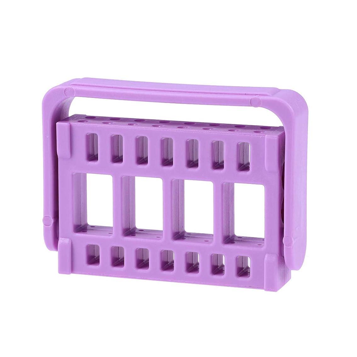 折る裏切りご覧くださいHealifty 測定ファイルホルダー歯科用内箱ボックスプラスチック製根管用ファイル消毒ラック16穴(パープル)
