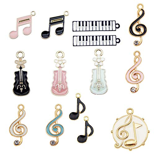 36pcs Enamel Music Notes Instruments Charms for Jewelry Making Wholesale Bulk Lot Piano Violin Musical Symbols Pendants