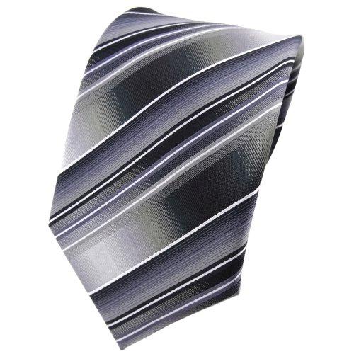 TigerTie Designer Krawatte in grau silber anthrazit hellgrau gestreift - Tie Binder