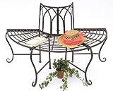 Banco 121071banco de jardín hecho de metal 127cm de semi Árbol de asiento banco banco banco del parque, color marrón