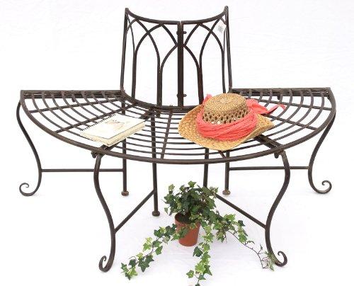 DanDiBo Baumbank Metall Wetterfest Braun 127 cm 3-Sitzer halbrund 121071 Gartenbank mit Rückenlehne Rundbank