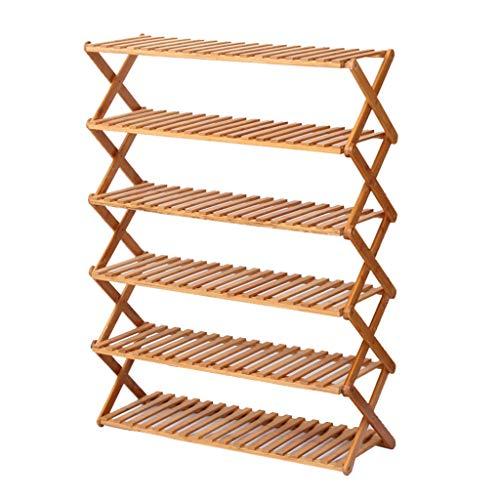 ZZYE Zapatero Rack de Zapatos Plegables de 6 Niveles Multifunción Rack de Almacenamiento a Prueba de Polvo Bambú Natural Perchero Zapatero (Size : 70cm)