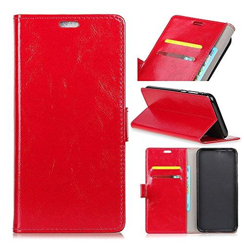 Funda® Flip Portefeuille Coque pour Sony Xperia XZ2 Compact (Rouge)