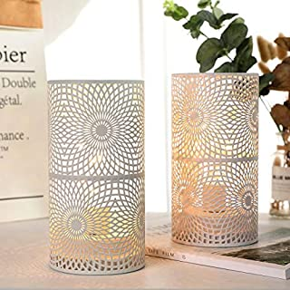JHY DESIGN Set of 2 White Table Metal lamp Battery Powered,Cordless Accent Light with Edison Style Bulb Battery Operated. Great for Weddings,Parties,Patio,Events for Indoors/Outdoors.