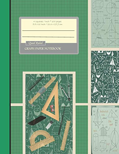 """Graph Paper Notebook: Grid Paper Notebook, Quad Ruled, Graph Paper Composition Books (Large 8.5"""" x 11"""") Forst Green"""