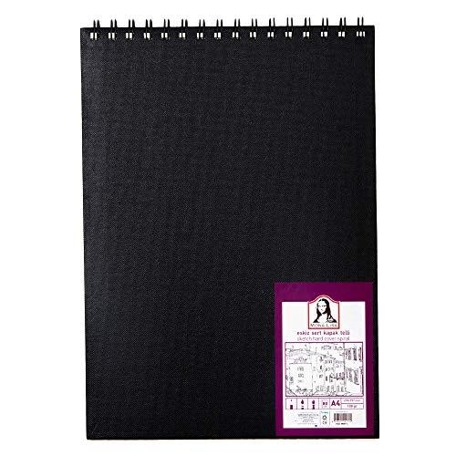 Monalisa Zeichenblock DIN-A4 80 Blatt, Sketchbook mit Spiralbindung 160 g/m² weißes Papier für Zeichnungen, (21,0 x 29,7 cm) mit 100 Seiten Zeichenpapier, mit schwarz robust Hard-Cover