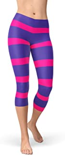Stripes Capri Leggings Pink and Purple Striped Cheshire Cat Inspired Mid Waist Capris