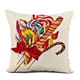 Awowee - Funda de cojín de lino, 45 x 45 cm, diseño de piruleta colorida con lazo rojo sobre cacerola blanca confitada de Navidad, decoración del hogar, funda de almohada cuadrada para cama y sofá