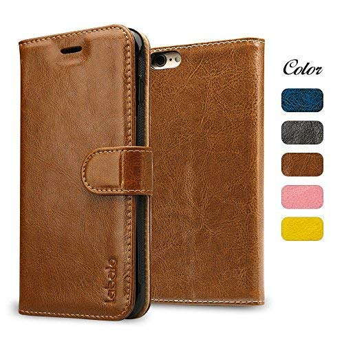 labato iPhone 6S Case, iPhone 6S Wallet Case, Genuine Leather Magnetic Smart Flip Folio Case Cover with Card Slot Cash Compartment Compatible for Apple iPhone 6/6S Brown 4.7 inch lbt-I6S-07Z20