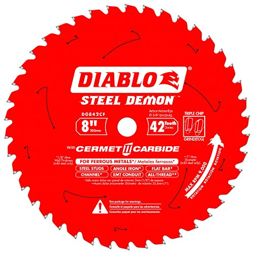 Diablo D0842CF 8-inch Steel Demon 42T Cermet II Carbide Ferrous Metal Saw Blade