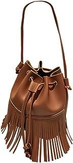 Auppova Women's Shoulder Bag Tassel Bucket Bag Crossbody Bag Lady Girls
