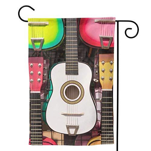 Memory-Shop Coloridas Guitarras Colgando Jardín Bandera Bienvenida Vertical Primavera Verano Jardín Exterior Decorativo para Festival Internacional