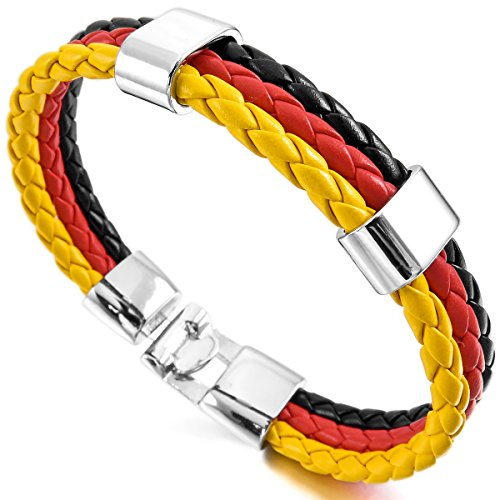MunkiMix Aleación Cuero Pulsera Brazalete Brazalete Manguito El Tono De Plata Negro Rojo Amarillo Alemania Alemania Bandera Hombre,Mujer
