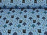 Sweatstoff Waschbären, Ökotex, blau (25cm x 160cm)