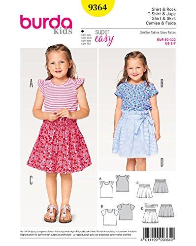 Burda 9364 Schnittmuster Shirt mit Flügelärmeln und Rock mit Gummizug (Kids, Gr. 92-122) Level 1 super Easy