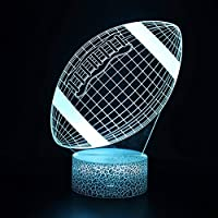 3Dイリュージョンナイトライト フットボール LED3Dキッズおもちゃベビースリープデスクランプ寝室の装飾ベッドサイドスマートタッチ7色変化する調光可能、女の子の男の子のための最高のおもちゃの誕生日