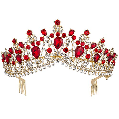 Royal Rhinestone Crystal Queen Tiara Headband Wedding Pageant Birthday Party Crowns Princess Headpieces for Women Girls (Gold Red)