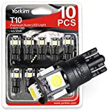 Yorkim T10 LED Bulbs 6500K Xeron White Non Polarity 6th Generation, 194 Interior LED For Car Dome Map Door Marker License Plate Trunk lights 168 W5W 2825 Socket, Pack of 10