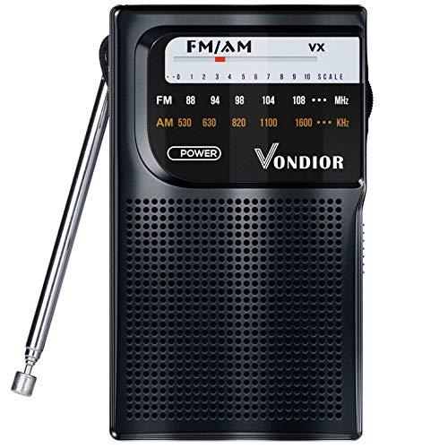 Vondior Radio de Bolsillo portátil con batería Am/FM, la Mejor recepción y duración. Am FM - Reproductor de Radio Compacto, Funciona con 2 Pilas AA, Overol Auriculares (Negro), Negro