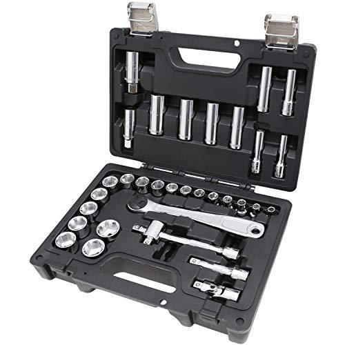 Beta 913E/C33 - Cassetta chiavi a bussola, set di 28 chiavi a bussola esagonali e 5 accessori, in cassetta di plastica. Kit chiavi a bussola in valigetta plastica antiurto con chiusure in metallo.