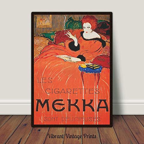 Oranje Jurk Print Antieke Advertentie Poster Rood Haar Mekka Sigaretten Vrouw Roken Mode Poster Printable Art Grote Muur Kunst