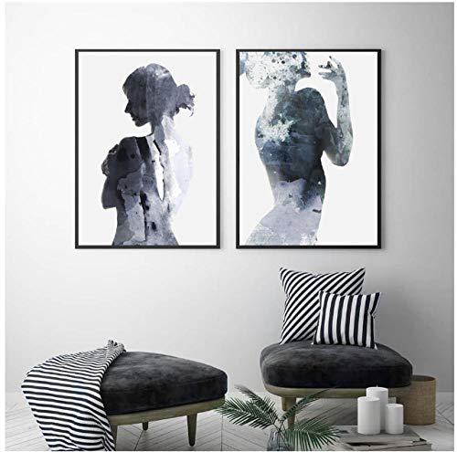 Jwqing Cuadro de pared blanco y negro, lienzo nórdico, póster de mujer de sombra fina, decoración para el hogar, arte abstracto (40 x 60 cmx2 sin marco)