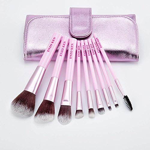 N /A QJYNS Ensemble de pinceaux de Maquillage,Outils de Maquillage, Pinceau à paupières Rouge Net, Pack Violet 9 brosses Cadeau Exquis
