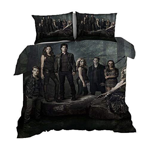 UNILIFE 3-teiliges Bettwäsche The Vampire Diaries Bettwäscheset mit Kissenbezug reversibler 3D-Druck Bettbezug