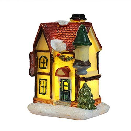 SHARRA LED Christmas village, LED Christmas resin Illuminated Christmas house Christmas decoration Snow house Villlage with LED light