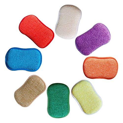 Cikuso La Cuisine antibactérienne en Microfibre tampons à récurer éponge Double éponge pour éponges Non abrasives, idéal pour Les poêlons antiadhésifs, Paquet de 5 Couleurs aléatoires