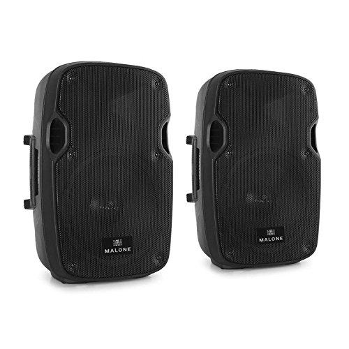 Malone PA-Aktiv-Box Outdoor Karaoke Boxen Lautsprecher mit Mikrofoneingang (2x 25cm Tieftöner, 400W RMS Lautsprecherboxen, XLR-MIC-IN) schwarz