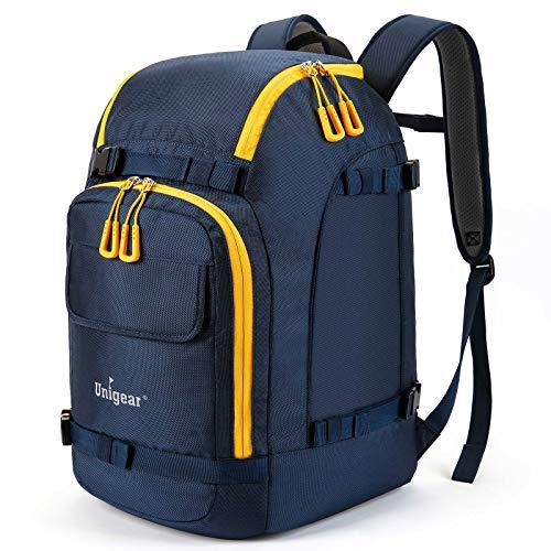 Unigear Ski Boot Bag, 50L Ski Boot Travel Backpack for Ski Helmet, Goggles, Gloves, Skis, Snowboard & Accessories (Blue)